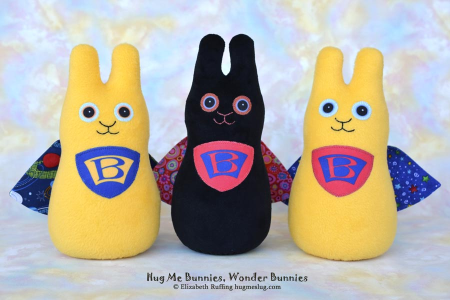 Wonder Bunnies, Hug Me Bunnies, stuffed bunny rabbit toys by Elizabeth Ruffing