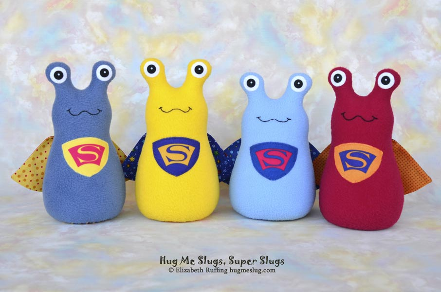 Super Slugs, Hug Me Slugs, stuffed slug toys by Elizabeth Ruffing