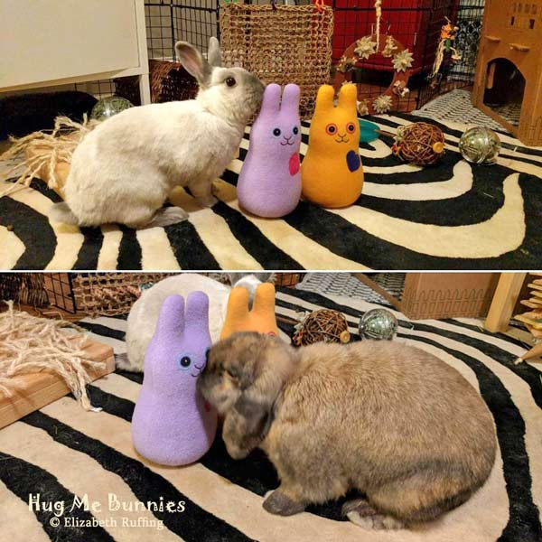 Hug Me Bunnies with their bunny friends Louise and Arthur, plush toys by Elizabeth Ruffing