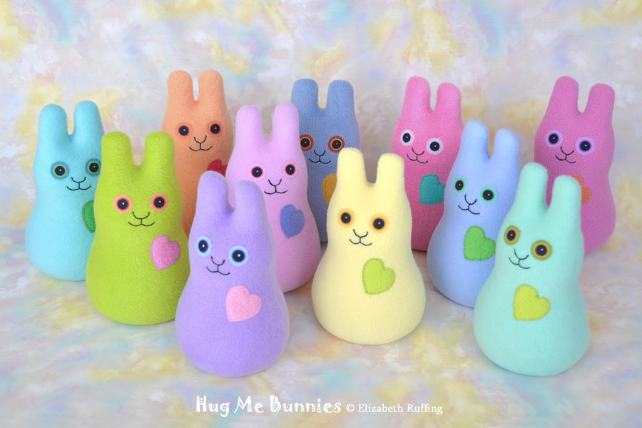 Hug Me Bunnies in spring colors, plush toys by Elizabeth Ruffing