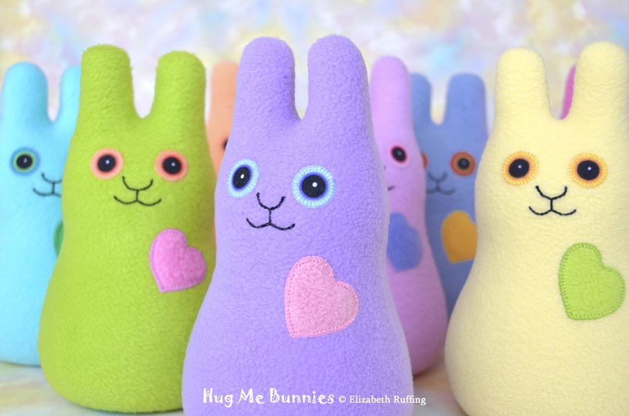 Pastel fleece Hug Me Bunny handmade stuffed animal plush toy rabbits by Elizabeth Ruffing, Ruffing's