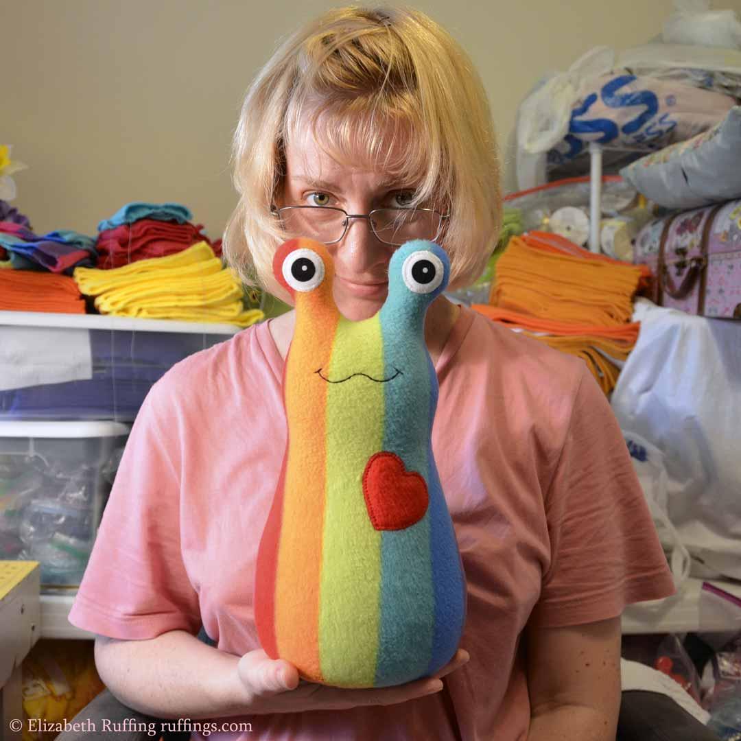 12 inch Handmade Rainbow Striped Hug Me Slug Stuffed Animal Plush Art Toy, by artist Elizabeth Ruffing