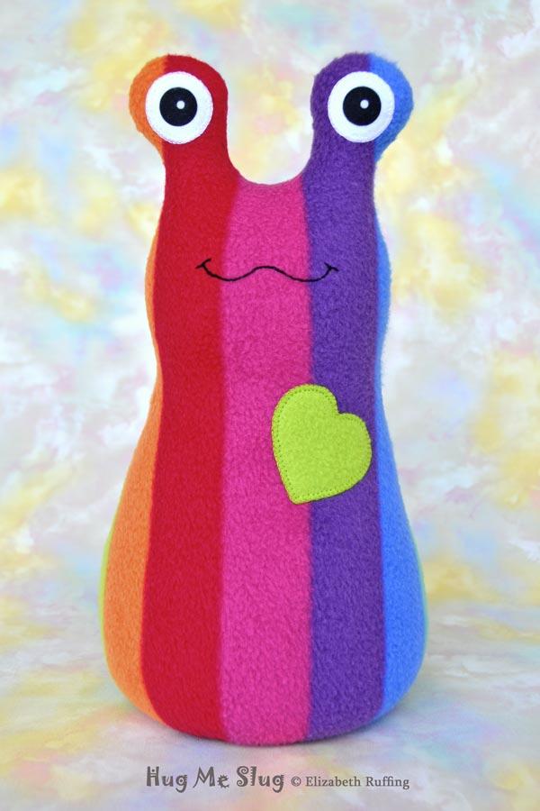 12 inch Handmade Rainbow Striped Hug Me Slug Stuffed Animal Plush Art Toy, Apple Green Heart by artist Elizabeth Ruffing
