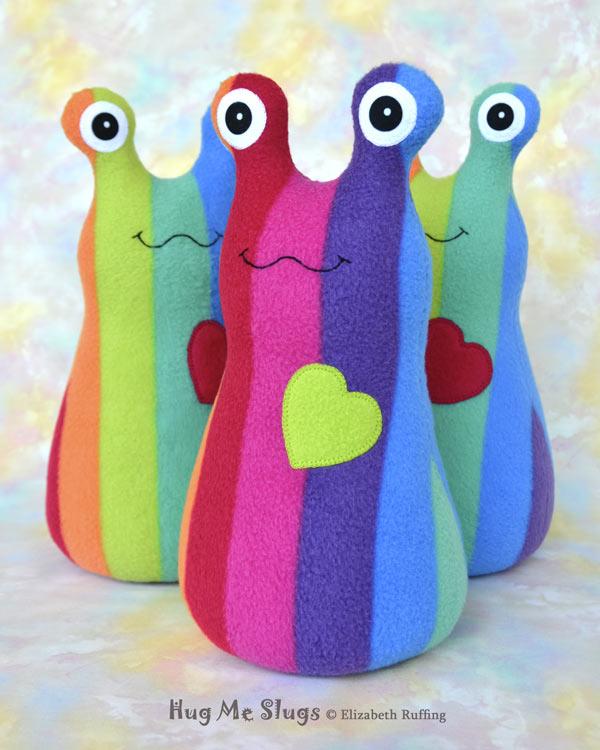 12 inch Handmade Rainbow Striped Hug Me Slug Stuffed Animal Plush Art Toys, by artist Elizabeth Ruffing