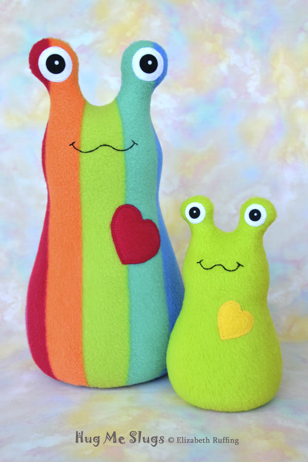 12 inch Handmade Rainbow Striped Hug Me Slug Stuffed Animal Plush Art Toy, Apple Green Heart by artist Elizabeth Ruffing