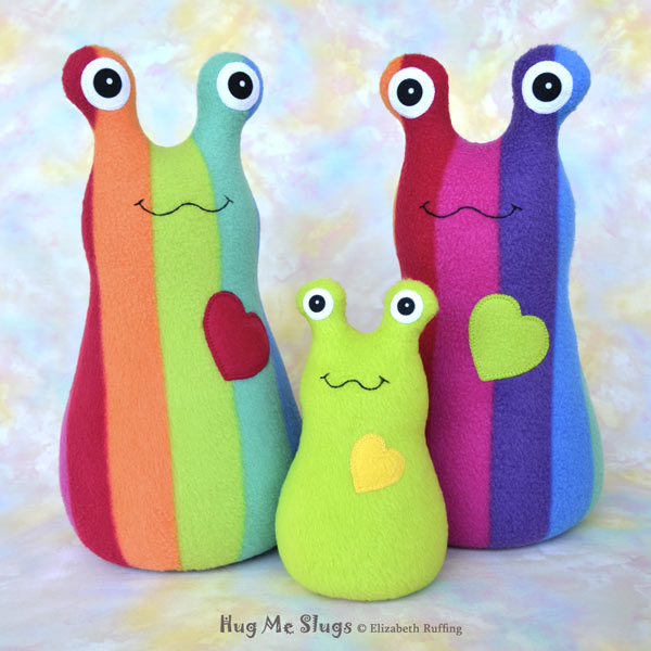 12 inch Handmade Rainbow Striped Hug Me Slug Stuffed Animal Plush Art Toys, with 7 inch Apple Green Hug Me Slug by artist Elizabeth Ruffing