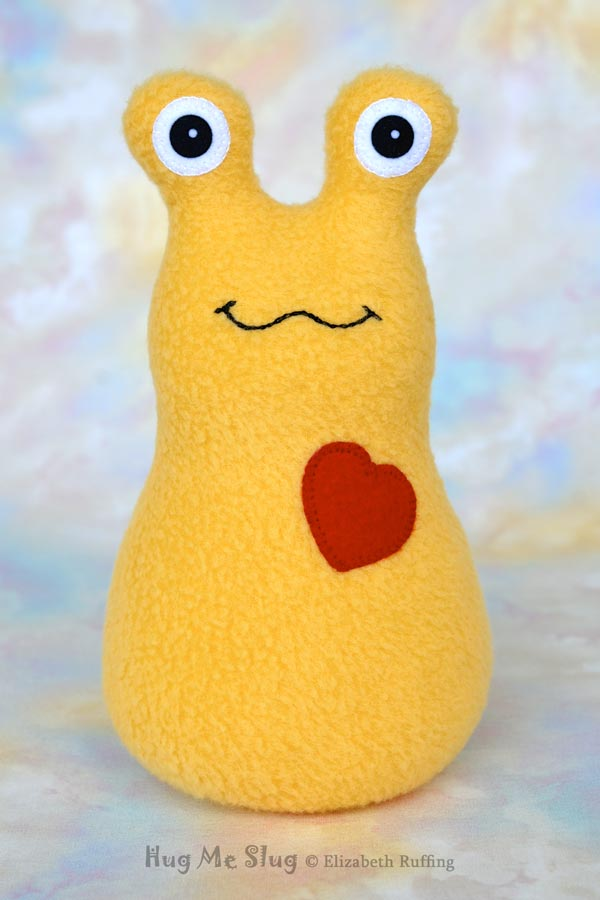 Handmade Golden Daffodil Yellow Hug Me Slug Stuffed Animal Plush Art Toy, Red Heart, 7 inch