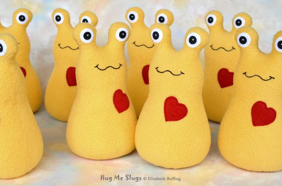 Golden Daffodil Yellow Handmade Fleece Hug Me Slug Stuffed Animal Plush Art Toys by artist Elizabeth Ruffing