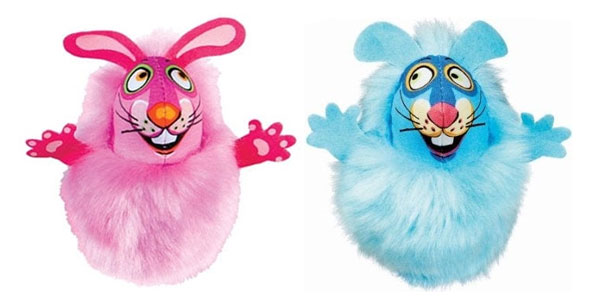 Fat Cat Fluff Bunny catnip toys in pink and blue