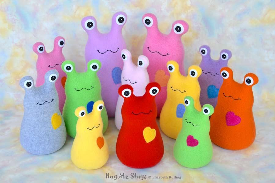 Assorted Handmade Fleece Hug Me Slug Stuffed Animal Plush Art Toys by artist Elizabeth Ruffing