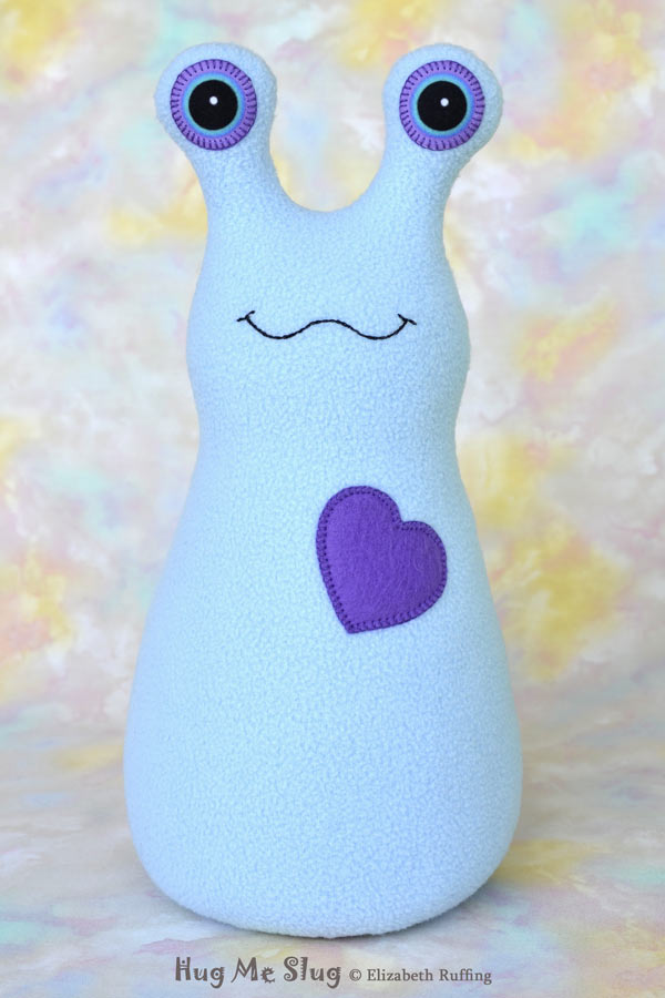 Handmade Light Blue Hug Me Slug Stuffed Animal Plush Art Toy, Purple Heart, 12 inch