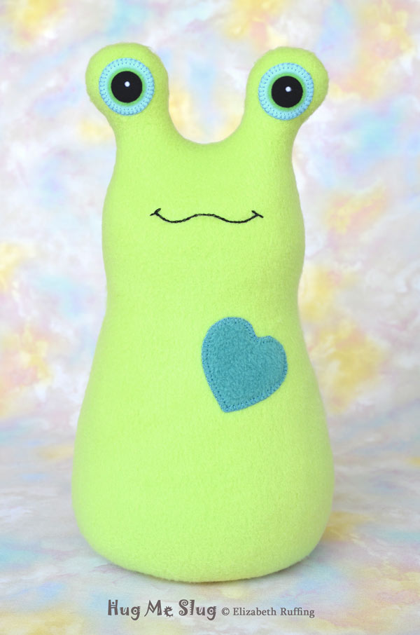 Handmade Pear Green Hug Me Slug Stuffed Animal Plush Art Toy, TEal Heart, 12 inch