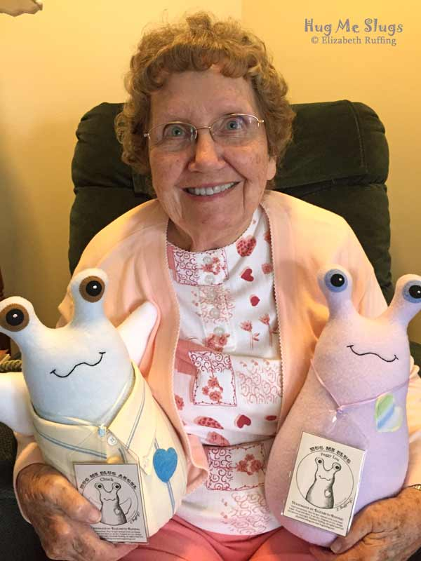 12 inch Handmade Hug Me Slug Stuffed Animal Plush Art Toys, Peggy Lou and Chuck, by artist Elizabeth Ruffing