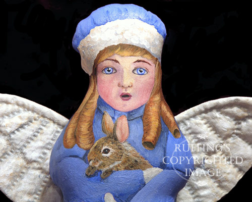 Cottontail Charlotte, Painted Cloth Original Angel Art Doll by Elizabeth Ruffing