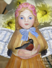 Robin, Painted Cloth Original Angel Art Doll by Elizabeth Ruffing