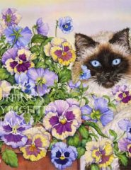 Ragdoll and Pansies Watercolor Art by A E Ruffing