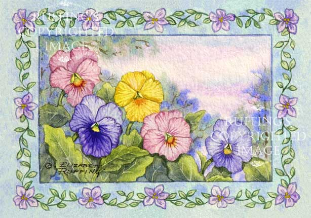 Pansies floral watercolor art paintng by artist Elizabeth Ruffing