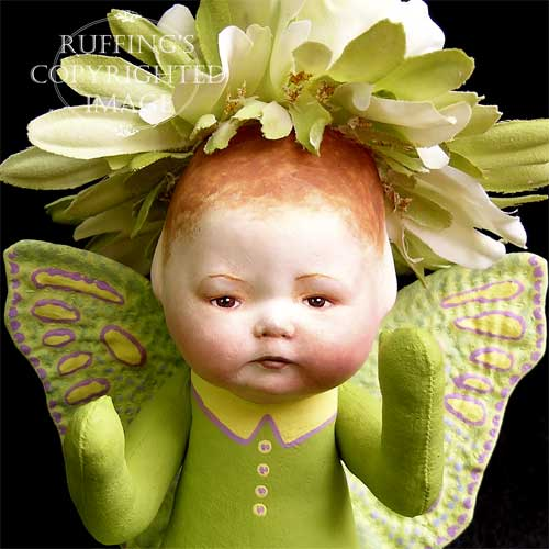 Greta the Baby Chrysanthemum Flower Fairy Art Doll by Elizabeth Ruffing