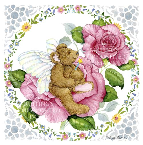 Fairy Bear teddy bear on pink roses watercolor art by Max Bailey