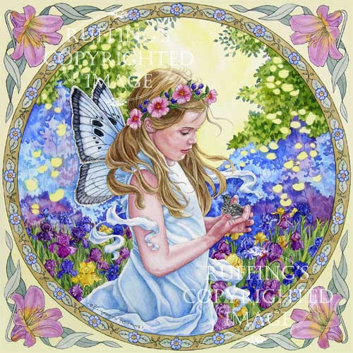 The Fairy and The Dove watercolor art by Elizabeth Ruffing