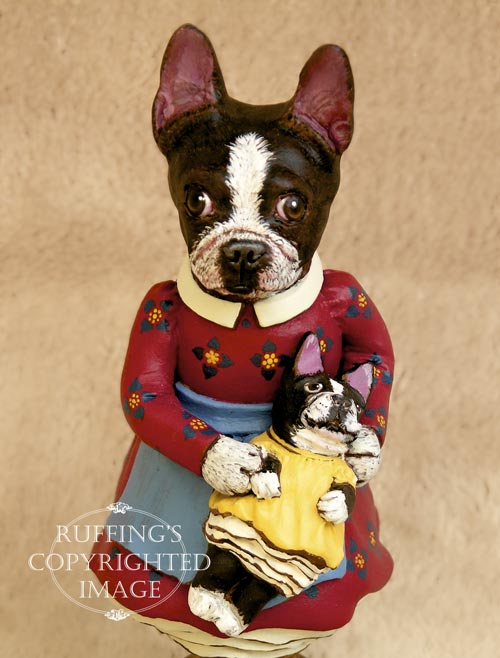Prudence the Boston Terrier original dog art doll figurine by artist Max Bailey