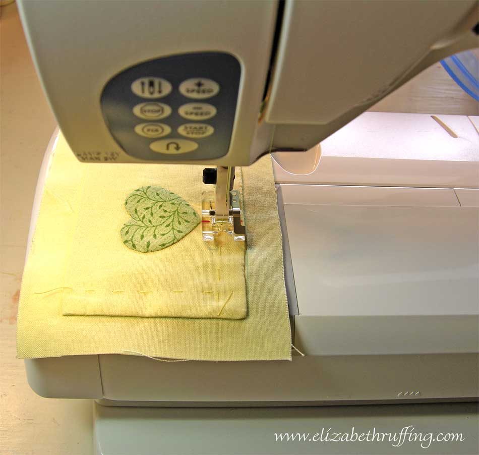 Using a clear edge stitching foot to sew along the edge of a pocket