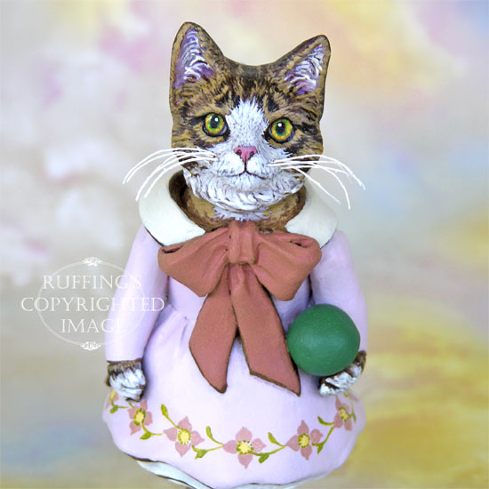 Tabitha original one-of-a-kind tabby-and-white cat anthropomorphic art doll by artist Max Bailey