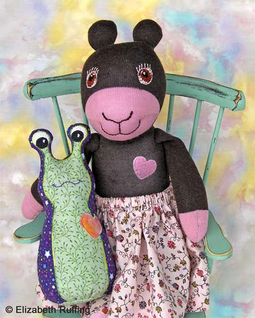 Annie the Antelope Sock Doll and Hug Me Slug by Elizabeth Ruffing
