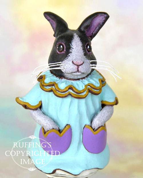 Tulip the Dutch Bunny, Original One-of-a-kind Black-and-white Rabbit Art Doll Figurine by artist Max Bailey