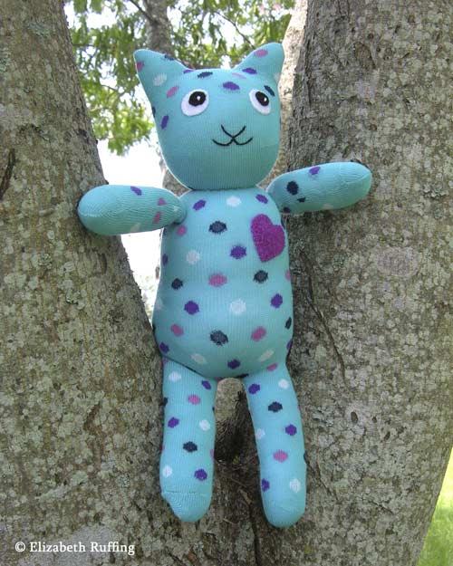 Turquoise Polka Dot Hug Me! Sock Kitten by Elizabeth Ruffing