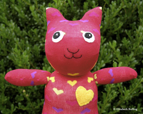 Red with hearts Hug Me! Sock Kitten by Elizabeth Ruffing