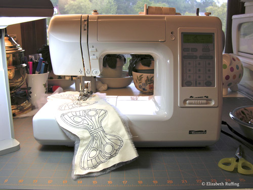 Sewing fairy wings on my sewing machine