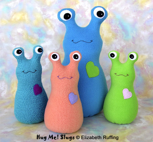 Hug Me! Slugs, Original Art Toys by Elizabeth Ruffing