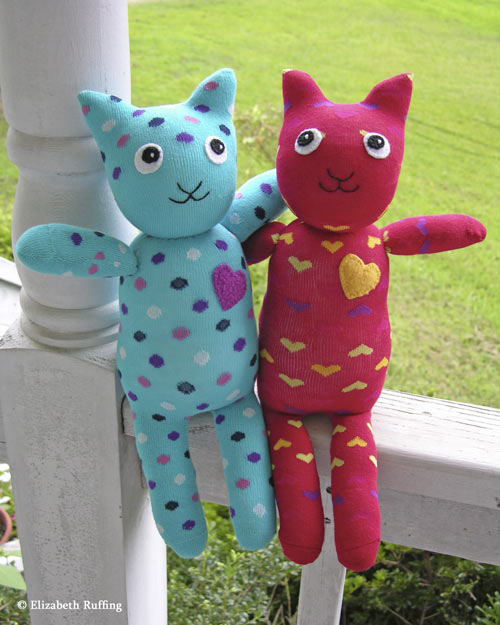 Hug Me! Sock Kittens, Original Art Toys by Elizabeth Ruffing