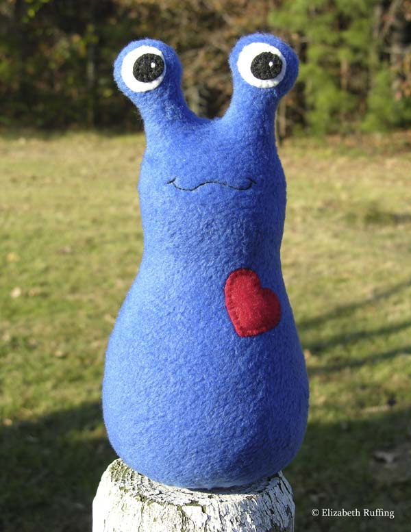 Fleece Hug Me! Slugs in royal blue, by Elizabeth Ruffing