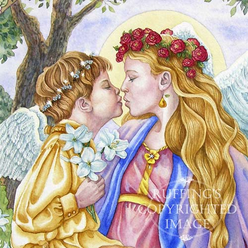 Angels Kiss watercolor painting by artist Elizabeth Ruffing