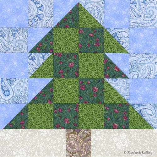 Christmas Tree Quilt Block by Elizabeth Ruffing