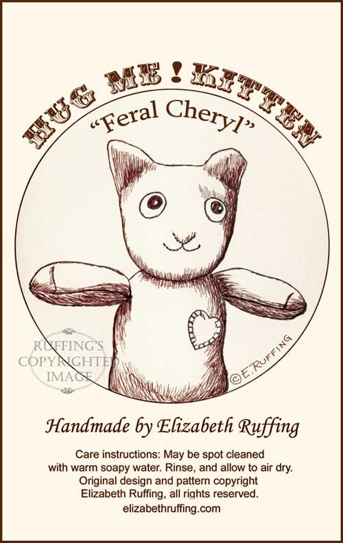 Feral Cheryl the TNR Demo Cat, hang tag by Elizabeth Ruffing