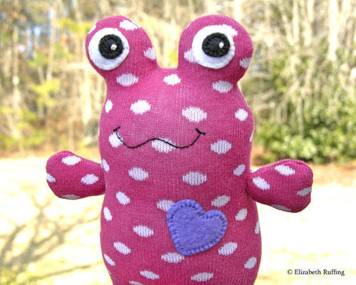 Dark Pink with White Polka-dots Hug Me Sock Toad by Elizabeth Ruffing