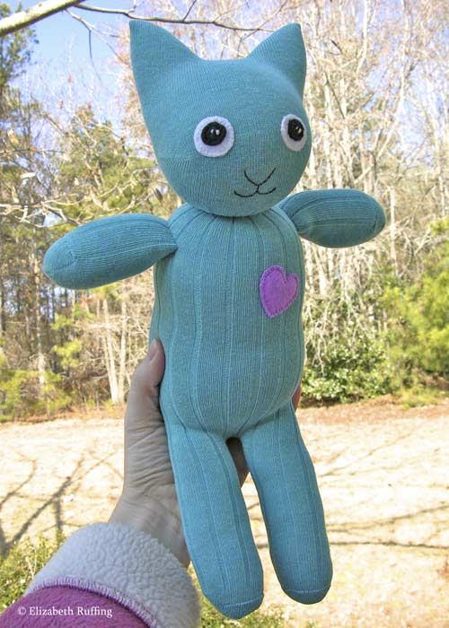 Turquoise Hug Me Sock Kitten by Elizabeth Ruffing