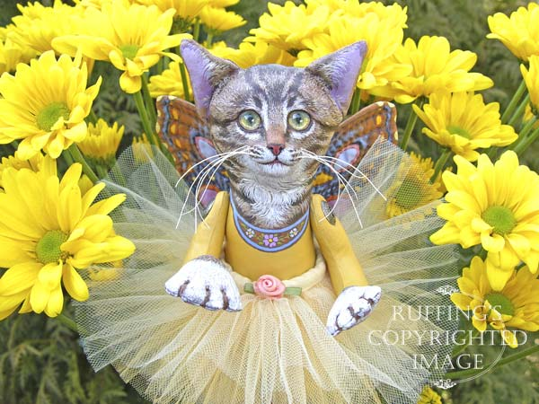 Celeste the Pixie Kitten, Original, One-of-a-kind art doll by Max Bailey and Elizabeth Ruffing, version 1, Tabby Cat with Golden-yellow Chrysanthemums
