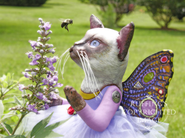 Luna the Pixie Kitten, Original, One-of-a-kind art doll by Max Bailey and Elizabeth Ruffing, version 1, Siamese Cat with Blue-purple Ageratum Flowers