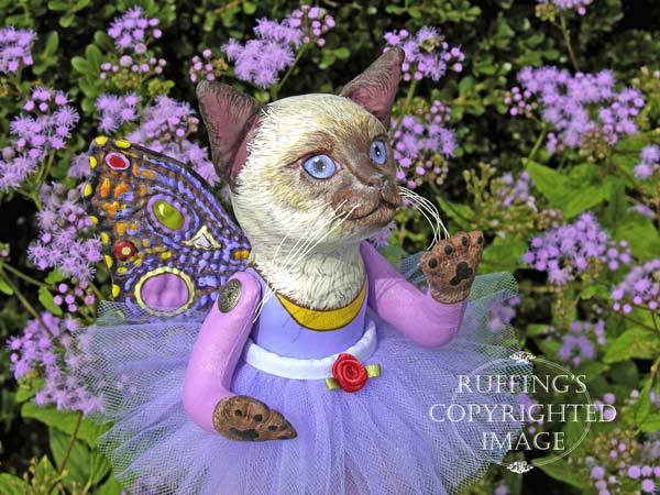 Luna the Pixie Kitten, Original, One-of-a-kind art doll by Max Bailey and Elizabeth Ruffing, version 3, Siamese Cat with Blue-purple Ageratum Flowers