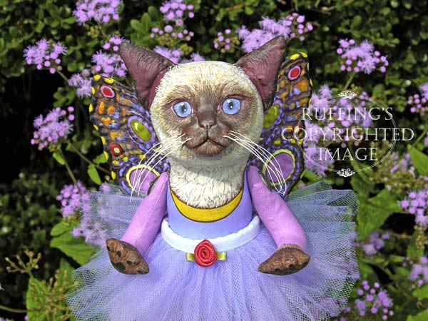 Luna the Pixie Kitten, Original, One-of-a-kind art doll by Max Bailey and Elizabeth Ruffing, version 2, Siamese Cat with Blue-purple Ageratum Flowers