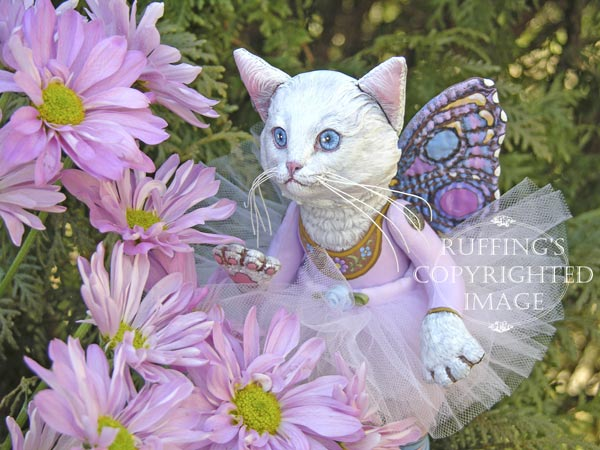 Opal the Pixie Kitten, Original, One-of-a-kind art doll by Max Bailey and Elizabeth Ruffing, version 3, White Turkish Angora Cat with Lavender-pink Chrysanthemums