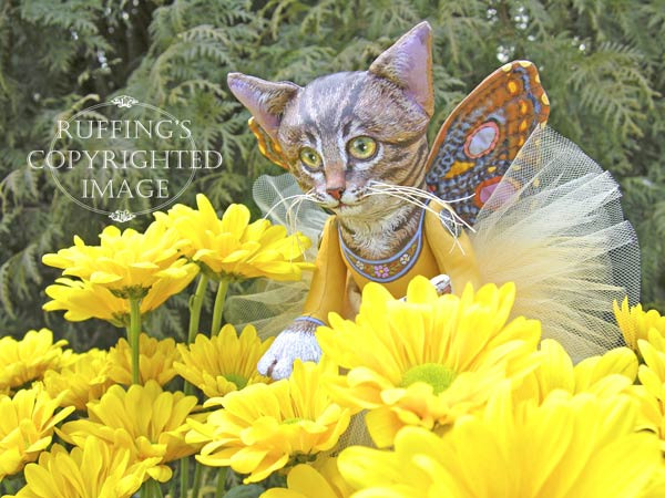 Celeste the Pixie Kitten, Original, One-of-a-kind art doll by Max Bailey and Elizabeth Ruffing, version 3, Tabby Cat, with Golden-yellow Chrysanthemums