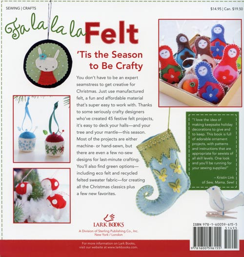 Fa La La La Felt by Amanda Carestio, back cover