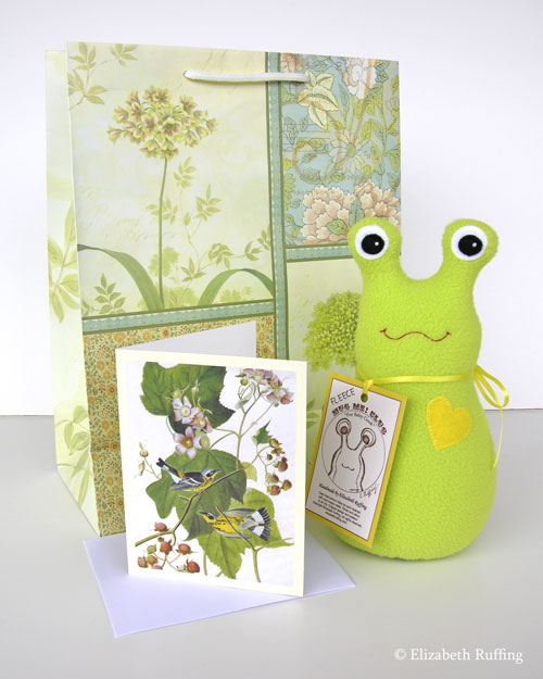 Bright light green Hug Me Slug by Elizabeth Ruffing, with card and gift bag
