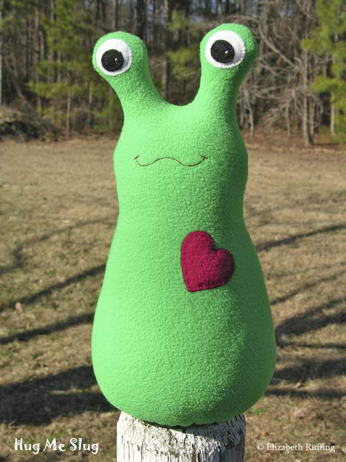 Kelly green fleece Hug Me Slugs by Elizabeth Ruffing