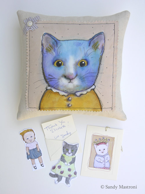 Hand-painted pillow by Sandy Mastroni